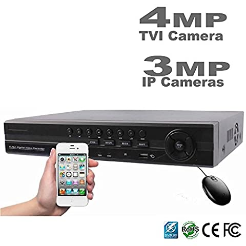 HDView 12CH 4-in-1 Security 1080P HD DVR/NVR: 8 Channel (TVI/AHD/960H) Cameras and 4 Channel ONVIF IP Cameras, Surge Protection CoC Commercial Grade, No HDD Installed, Support 3MP, 4MP TVI - Everfocus Alarm