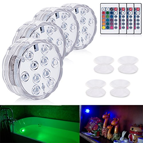Aurora 4pcs 10-LED Waterproof RGB Submersible Lights Remote Controlled, with 4 Suction Cups Idea for Bathtub or Spa, Aquarium, Vase Base,Pool Light ,Christmas, Wedding, Party Decorative Light. (Ideas Christmas Bath)