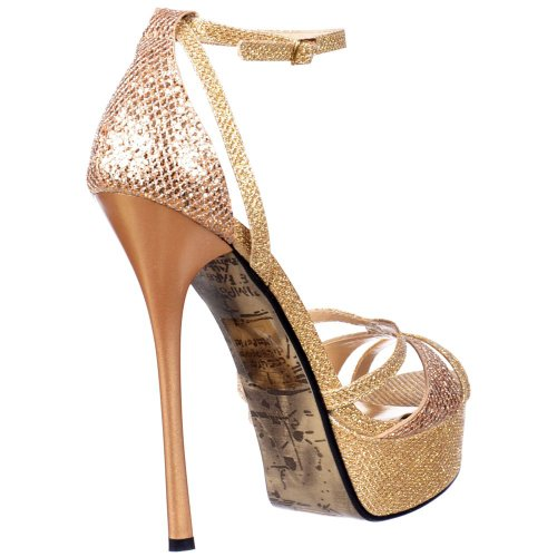 Gold Onlineshoe Toe Cross Gold Gold Damen Glitter Glänzend Toe Stiletto Peep Over Riemchen Glitter AqPA1wB