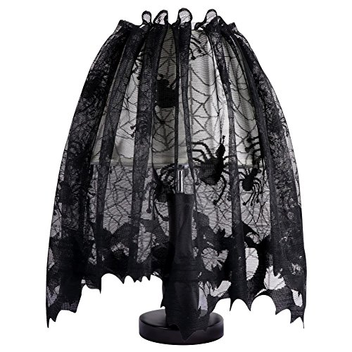 Hixixi Hallowmas Black Lace lamp Shade Spider Web Bat Window Toppers Door Curtain Halloween Party Decoration (20