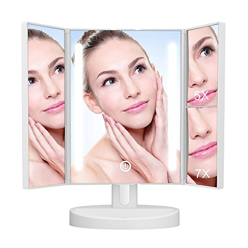 KEDSUM LED Lighted Trifold Makeup Mirror, 1X/5X/7X Magnifying Vanity Makeup Mirror with Lights,Dual USB/Battery Supply,180 Degree Rotation, Countertop Cosmetic Mirror Review