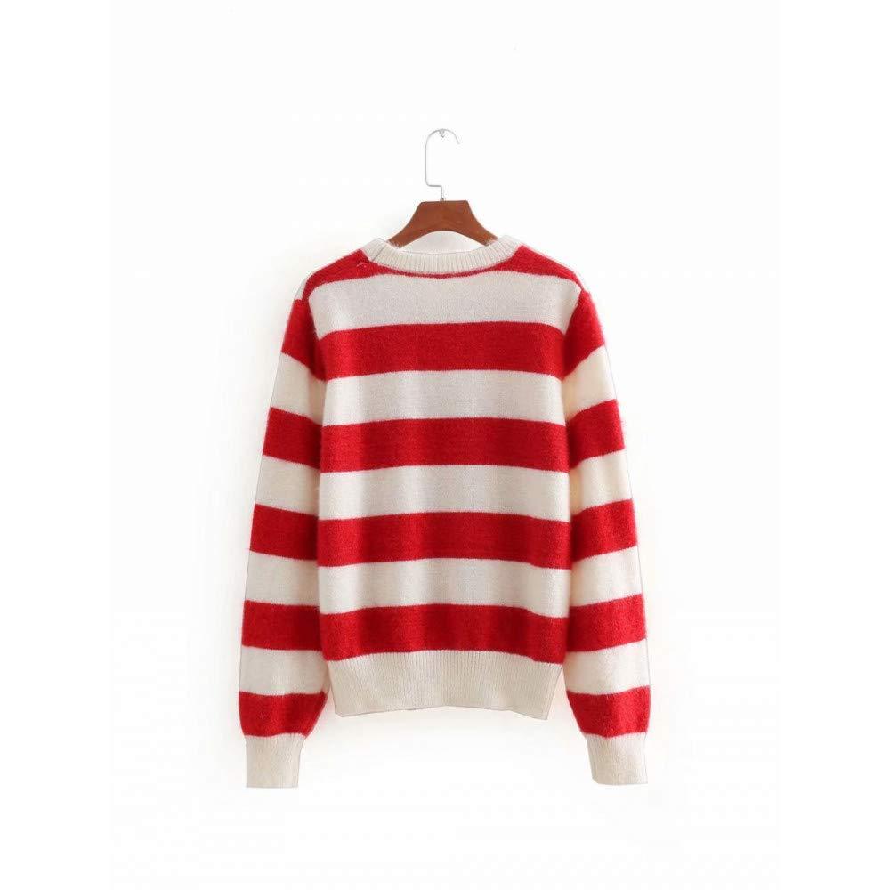 FUHENGMY Pullover Sweet O Neck Pullover Mit Gestreiften Herbst Frauen Casual Langarm Pullover OverGrößed Strickpullis