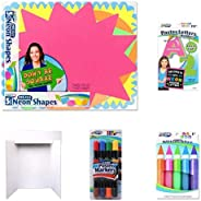 ArtSkills Neon Presentation Set, Includes 6 Display Boards, Poster Shapes, Letters and Numbers, Jumbo Glitter Glue, Double S