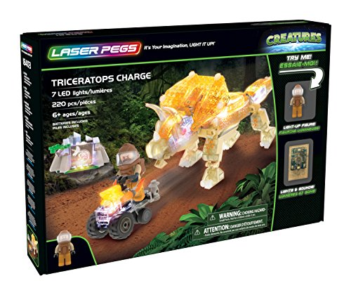 Laser Pegs Triceratops Charge Light Up Building Kit (220 pieces)