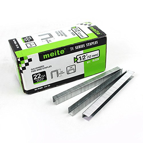 (meite 22G71S12 22 Gauge 3/8-Inch Crown or C-Crown 1/2-Inch Leg Length Galvanized Fine Wire Staples Upholstery Staples)