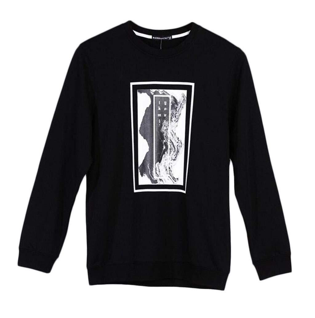 DAFREW Herren Pullover, Rundhals Fashion Print Sport Pullover, Frühling und Herbst komfortable Casual Long Sleeve T-Shirt (Farbe   SCHWARZ, größe   4XL)
