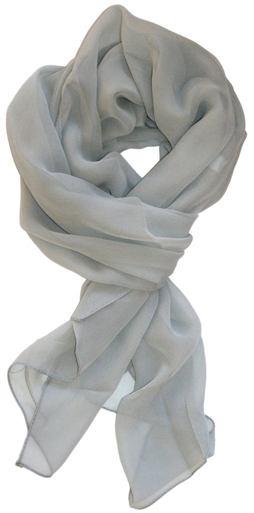 Love Lakeside Modern Chiffon Solid Color Silk Blend Oblong Scarf Grey