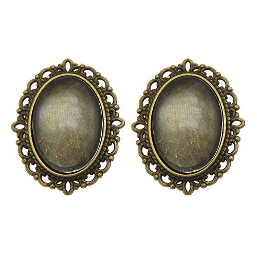 Julie Wang 10 Sets Oval Pin Brooch Bezel Blanks Bronze Setting with Matching Glass Cabochons ()