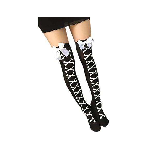 DOGZI Calcetines largos mujer Arco Imprimir Calcetines hasta la rodilla tubo largo sobre los calcetines de