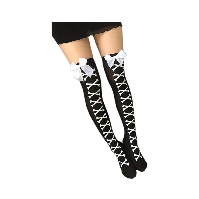 DOGZI Calcetines largos mujer Arco Imprimir Calcetines hasta la rodilla tubo largo sobre los calcetines de rodilla Muslo Largo Algodón Calentar Medias ...