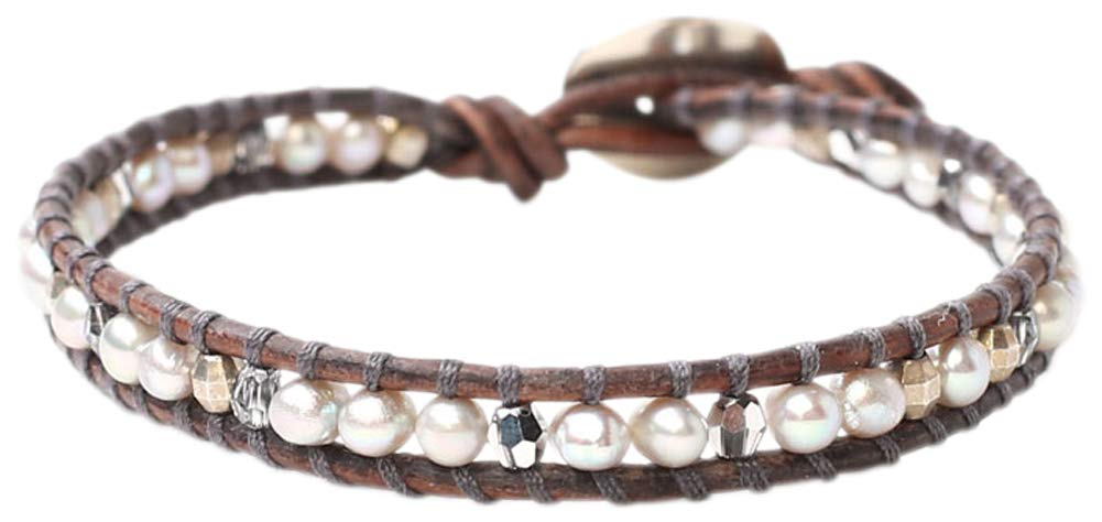 Chan Luu Freshwater Cultured Pearl Single Wrap Bracelet on Natural Grey Leather (Dark Grey Mix)