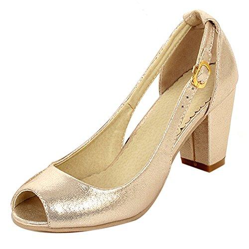 TAOFFEN Women Stylish Peep Toe Buckle Strap Court Shoes Block Heel Shoes Gold ryGEwmdRU