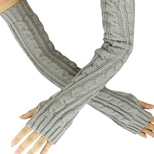 Long Gloves for Women, Paymenow Winter Fingerless Gloves Thumbhole Arm Warmers Costumes Accessories (Grey) ()