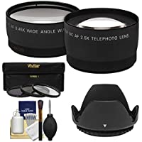 55mm Essentials Bundle with Telephoto & Wide-Angle Lenses + 3 UV/CPL/ND8 Filters + Lens Hood + Cleaning Kit