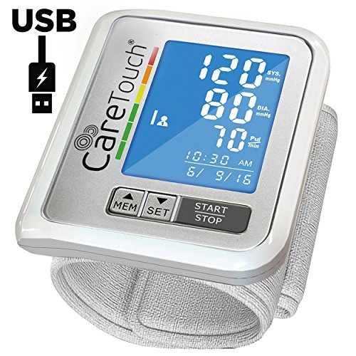 Wrist Blood Pressure Monitor by Care Touch with USB Charging – Slim Digital BP Machine with back-light, adjustable cuff and irregular heartbeat indicator