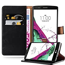 Cadorabo – Luxury Book Style Wallet Design Case for LG G4 with 2 Card Slots and Stand Function - Etui Case Cover Protection Pouch in GRAPHITE-BLACK