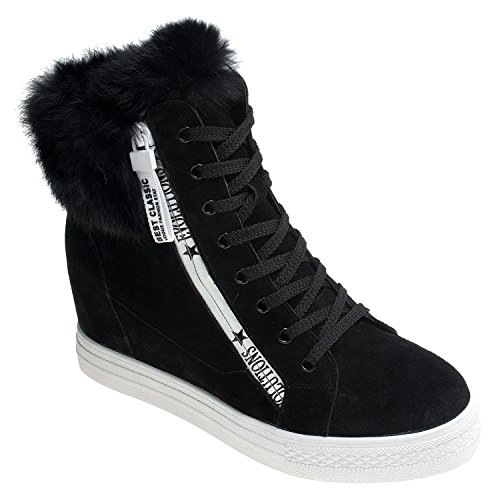 AnnaKastle Womens Fur Trimmed Suede Leather High Top Fashion Zip Sneaker Boots Black