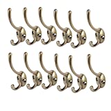 uxcell Bedroom Robe Coat Hanging Vintage Style Double Hanger Hooks Bronze Tone 12pcs