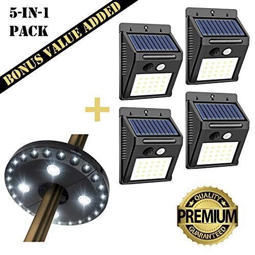YUNIC LED Motion Sensor Security Solar Lights Outdoor 5-in-1 Value Pack, 4 Solar Motion Sensor LED Security Lights, AND 1 Bonus Patio Umbrella LED Light for Backyard, Garden, Entrance Walkway and More
