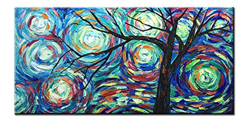 - Diathou 20x40Inch 100% Hand Painted Oil Paintings Stretched Framed Ready to Hang Landscape Tree Abstract Canvas Art Modern Home Decoration for Livingroom Bedroom Kitchen Diningroom Office
