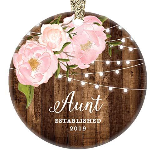 Aunt Established 2019 Christmas Ornament New Baby Niece Nephew Auntie Holiday Present Favorite Aunt Sister Pretty Rustic Farmhouse Keepsake 3