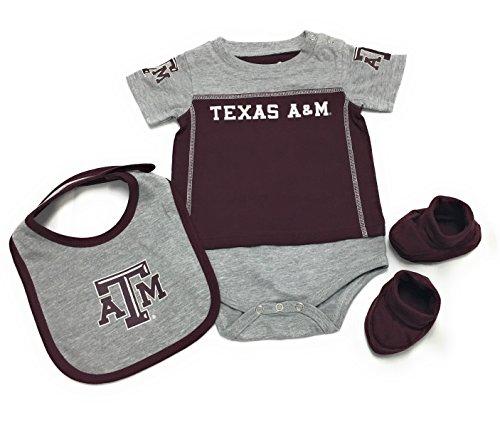 (Genuine Stuff Texas A&M Aggies Baby/Infant Lil Jersey Creeper, Bib, Bootie Set 12 Months)