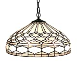 Amora Lighting AM221HL18 Tiffany Style Royal White Hanging Lamp 18 In Wide