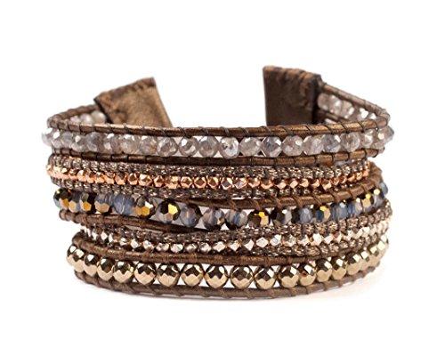 (Chan Luu Goldtone Mineral Stone Mix Swarovski Crystal Wrap Brown Leather Bracelet Adjustable )