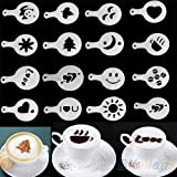 Ainest 16pcs Fashion Cappuccino Coffee Barista Stencils Template Strew Pad Duster Spray