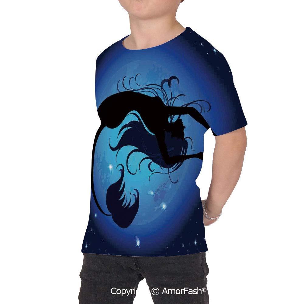 Mermaid Childrens Summer Casual T Shirt Dresses Short Sleeve,Silhouette of Lege
