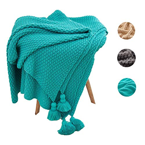 (blue page Knitted Tassels Throw Blankets with Pendant - Soft Cotton Cable Knit Throw Blanket for Baby/Kids/Bed/Couch/Travelling (51 x 67 inches, Green))