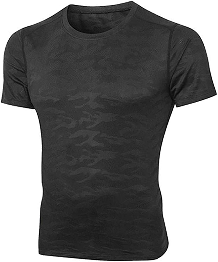 POQOQ Top Men's Pure Color Fitness Quick Drying Short Sleeve Blouse Fashion Tight