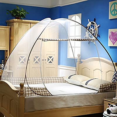 RBuy Portable Pop Up Mosquito Net Tent with Bottom for Twin Full Queen Bed Home Vacation Use