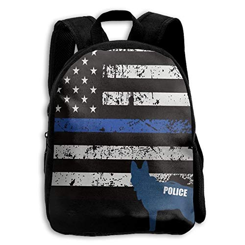 Midfhd55 American Police Dog Unique Kids Backpack,School Bag Student Casual Nylon Backpack for Primary School Students