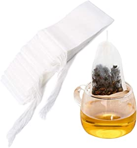 Tinkee Tea Filter bags, safe and natural material, disposable tea infuser, empty tea bag with drawstring for loose leaf tea, set of 100(3.15 x 3.94 inch ) (White)