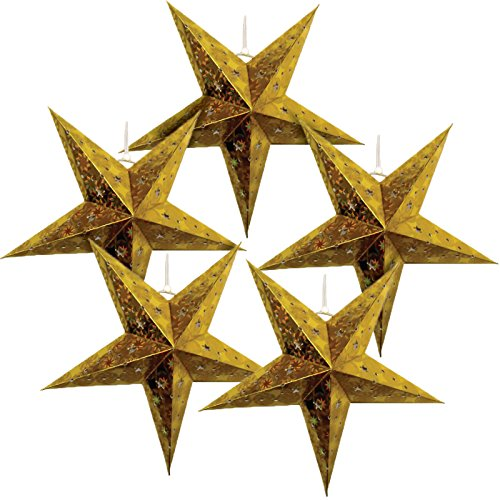 Just-Artifacts-Star-Shaped-Paper-LanternLamp-Hanging-Decoration-Set-of-5-11inch-Gold