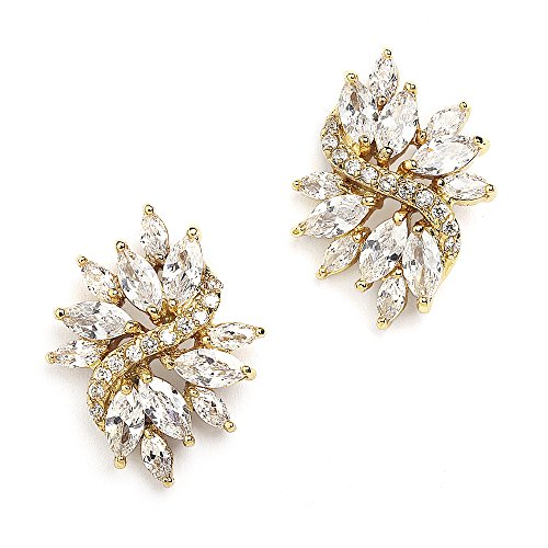 Mariell Vintage Wedding Earrings for Brides with Marquis-Cut CZ Clusters - Genuine 14kt Gold Plated