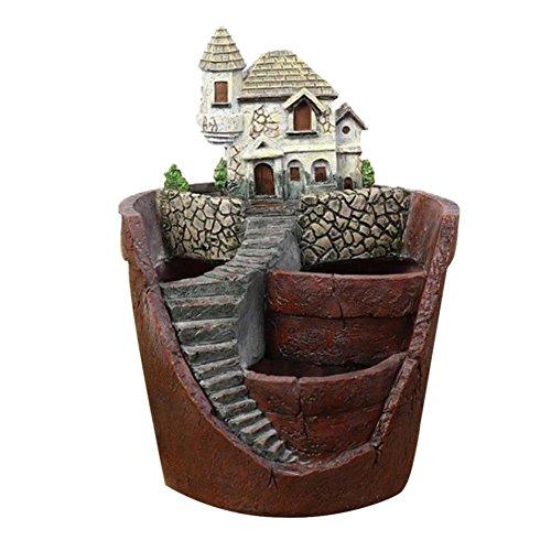 Roche.Z Fairy Garden Planter Flower Pot Sculpture Status Stone House Micro Landscape Resin Garden Flowerpot Planter Flower Pots Fairy Garden Pots
