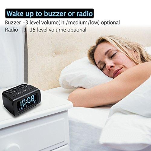 DreamSky Decent Alarm Clock Radio with FM Radio, USB Port for Charging, 1.2 Blue Digit Display with Dimmer, Temperature Display, Snooze, Adjustable Alarm Volume, Sleep Timer.