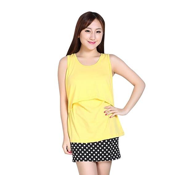 Zolimx® Camisetas Premama Divertidas, Maternidad Embarazada Ropa de Enfermería Camisetas de Lactancia Chaleco (