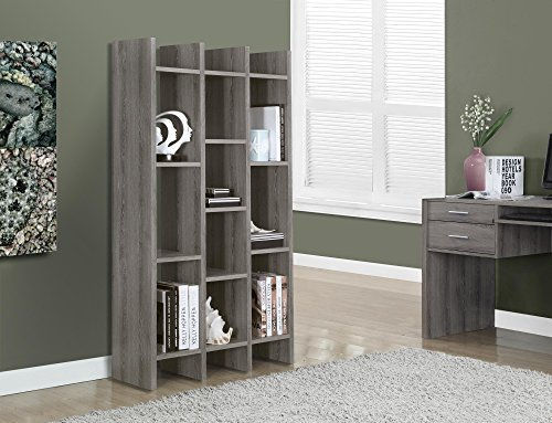 Review Monarch Specialties Dark Taupe Reclaimed-Look  Horizontal/Vertical Etagere, 60-Inch By Monarch Specialties by Monarch Specialties