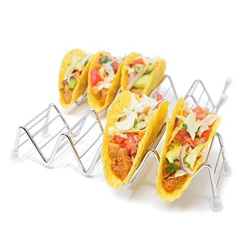 Taco Holder Stand, 2 Pack of Taco Rack with Silicone Feet, for Up To 10 Hard or Soft Shell Tacos