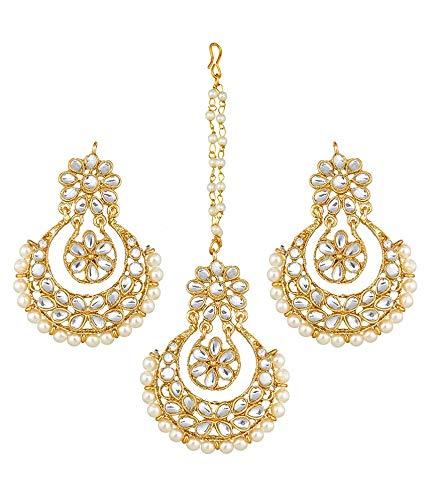 XL Maang Tikka Chandbali Earrings Combo  Kundan Earrings  Yellow Gold plated  Peacock Indian Wedding Jewelry  Traditional Earrings Tika