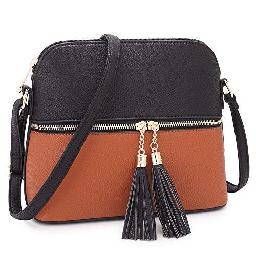 Women Lightweight Medium Dome Crossbody Bag with Tassel (Black/Brown)
