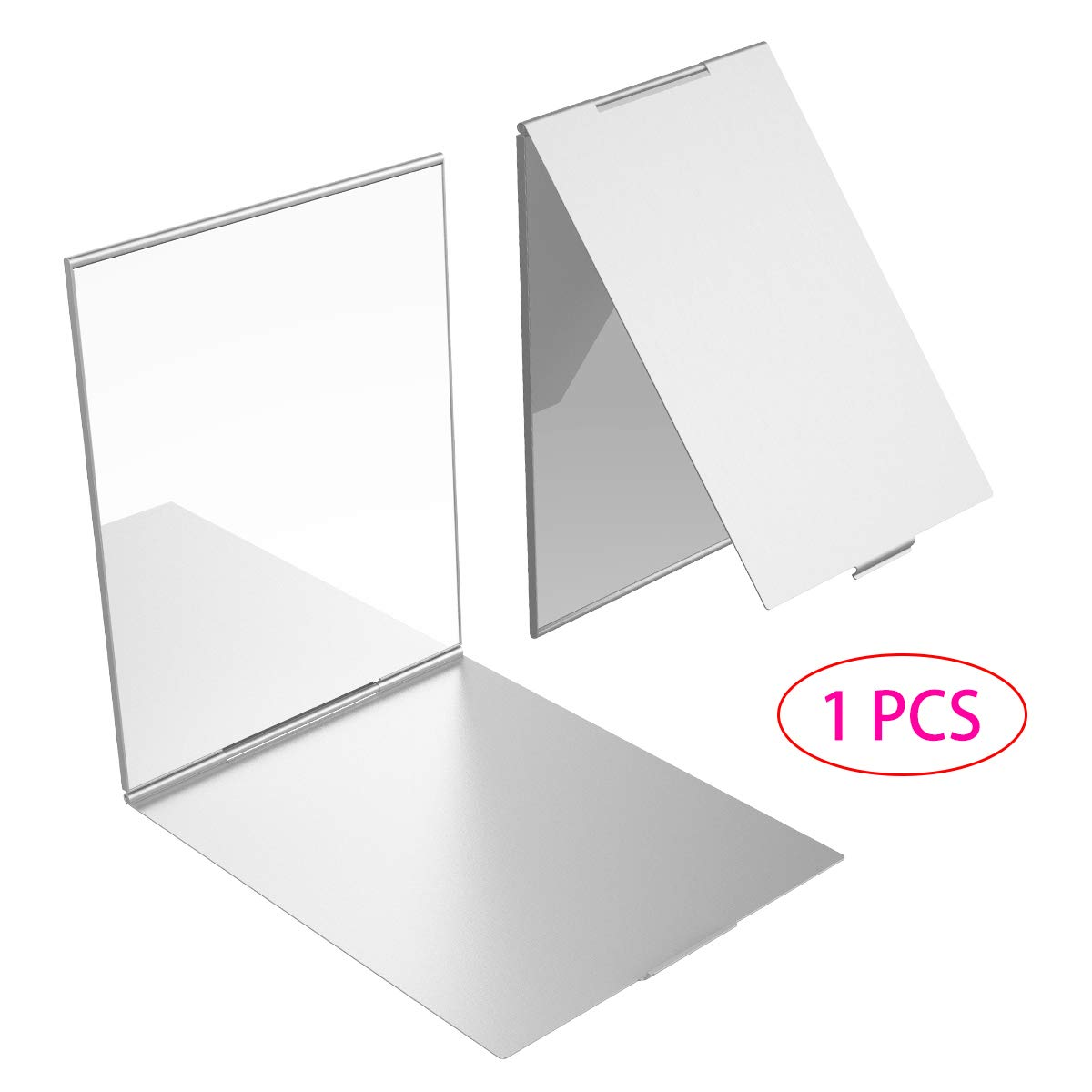 YoungRich Little Travel Mirror Espejo plegable portátil Espejo de maquillaje compacto para maquillaje Peluquería y afeitado 17x13x0.5cm Plata