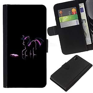 KingStore / Leather Etui en cuir / Sony Xperia Z2 D6502 / Pony Unicorn Art Dibujo Rosa Púrpura Fairytale