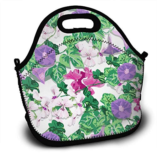 (Flower Spring Morning Glory Geranium Lunch Tote Bag With Detachable Adjustable Shoulder Strap Lightweight And Waterproof Reusable Insulated Thermal Washable Lunch Box With Zipper)
