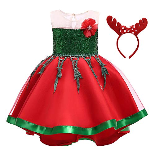 Baby Girls Christmas Princess Sequin Birthday Party Fancy Pageant Dress Up Costume Outfits w/Polka Dot Elk Ears Headband Green 5-6 Years