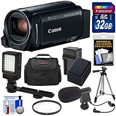 Canon Vixia HF R82 32GB Wi-Fi 1080p HD Video Camera Camcorder with Card + Battery & Charger + Case + Filter + Tripod + LED Light + Microphone Kit from Canon
