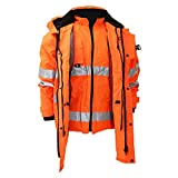 Yoko Hi Vis Multi-Function Breathable & Waterproof 7-In-1 Jacket (M) (Hi Vis Orange)
